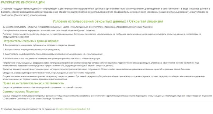 Скрин открытой лицензии Эко-Сити